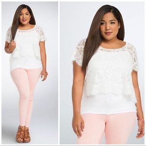 Torrid White Cloud Dancer Lace Crop Top